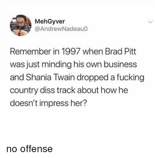 Brad Pitt: MehGyver  @AndrewNadeauo  Remember in 1997 when Brad Pitt  was just minding his own business  and Shania Twain dropped a fucking  country diss track about how he  doesn't impress her? no offense
