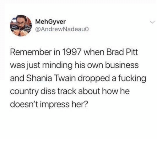Brad Pitt: MehGyver  @AndrewNadeauo  Remember in 1997 when Brad Pitt  was just minding his own business  and Shania Twain dropped a fucking  country diss track about how he  doesn't impress her?