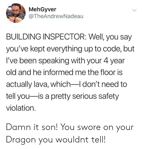 The Floor Is: MehGyver  @TheAndrewNadeau  BUILDING INSPECTOR: Well, you say  you've kept everything up to code, but  I've been speaking with your 4 year  old and he informed me the floor is  actually lava, which-I don't need to  tell you is a pretty serious safety  violation. Damn it son! You swore on your Dragon you wouldnt tell!