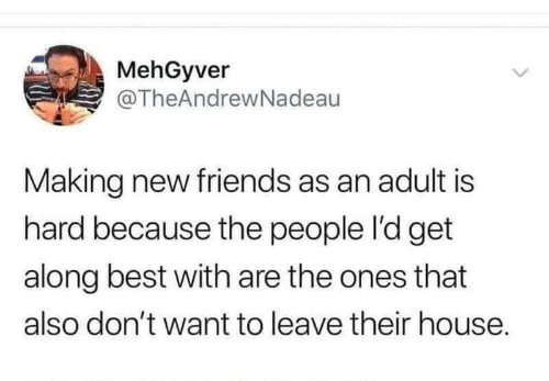 New Friends: MehGyver  @TheAndrewNadeau  Making new friends as an adult is  hard because the people l'd get  along best with are the ones that  also don't want to leave their house.