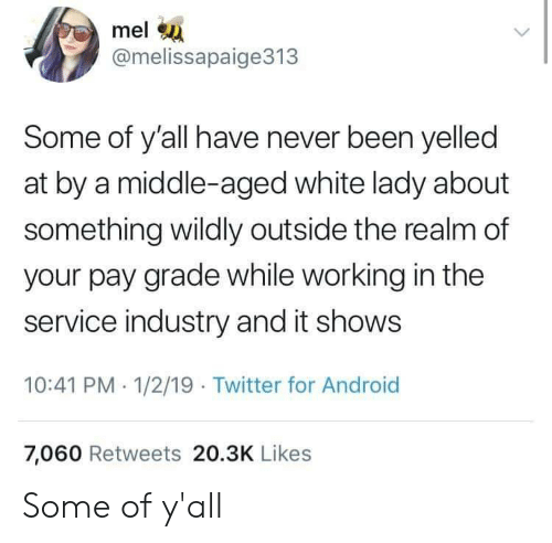 middle aged: mel  @melissapaige313  Some of y'all have never been yelled  at by a middle-aged white lady about  something wildly outside the realm of  your pay grade while working in the  service industry and it shows  10:41 PM 1/2/19 Twitter for Android  7,060 Retweets 20.3K Likes Some of y'all