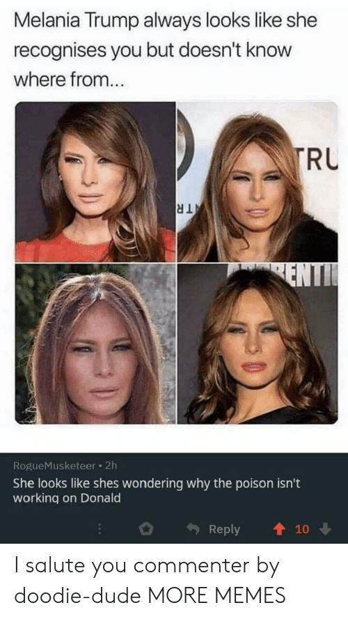 Melania: Melania Trump always looks like she  recognises you but doesn't know  where from...  TRU  TR  ENTI  RogueMusketeer 2h  She looks like shes wondering why the poison isn't  working on Donald  Reply  10 I salute you commenter by doodie-dude MORE MEMES