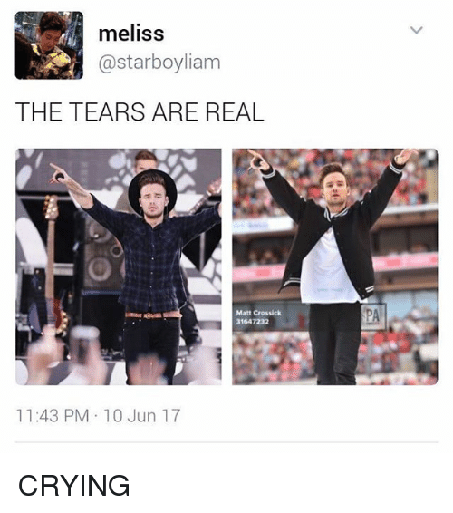 Crying, Memes, and 🤖: meliss  @starboyliam  THE TEARS ARE REAL  Matt Crossick  31647232  11:43 PM 10 Jun 17 CRYING