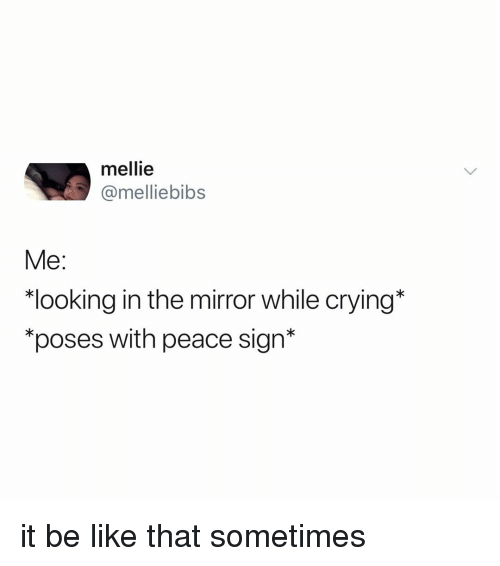 """peace sign: mellie  @melliebibs  Me:  """"looking in the mirror while crying*  """"poses with peace sign* it be like that sometimes"""
