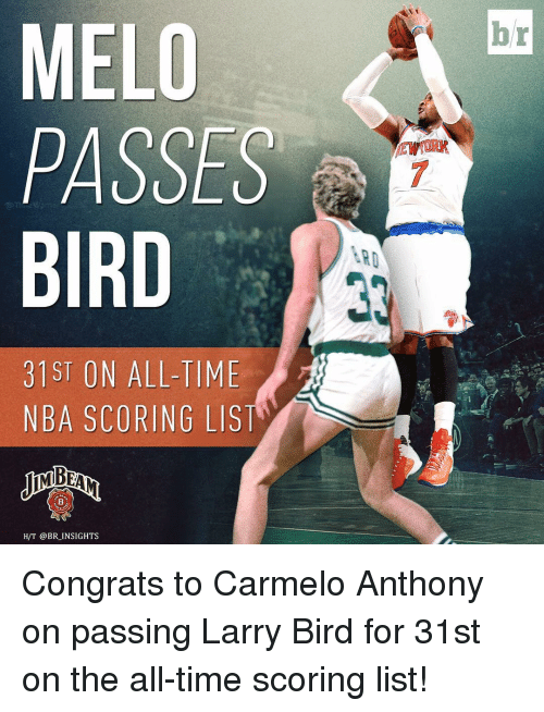 Carmelo Anthony, Nba, and Sports: MELO  PASSES  BIRD  31ST ON ALL-TIME  NBA SCORING LIST  H/T @BR INSIGHTS  ARD Congrats to Carmelo Anthony on passing Larry Bird for 31st on the all-time scoring list!