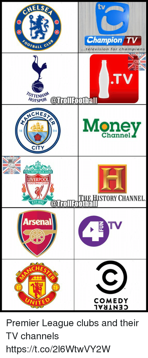 Arsenal, Football, and Memes: MELSE  Champion TV  OOTBALL  television for cha m pions  SUCCER  .TV  TTENHAM  HOTSPUR  @Troll Football  CHESA  Money  94  CITY  OCCERB  YOULL NEVERWALKALON  LIVERPOOL  OOTBALLCLUB  STORY CHANNEL  EST 1892  @Troll Football  Arsenal  TV  CHES  UNITED  COMEDY Premier League clubs and their TV channels https://t.co/2l6WtwVY2W