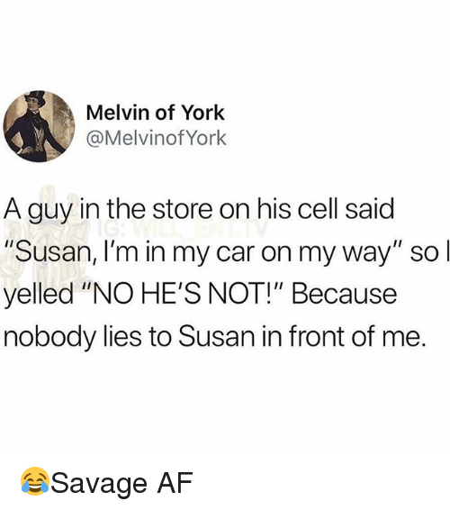 "Af, Memes, and On My Way: Melvin of York  @Melvinof York  A guy in the store on his cell said  Susan, I'm in my car on my way"" so  yelled ""NO HE'S NOT!"" Because  nobody lies to Susan in front of me 😂Savage AF"
