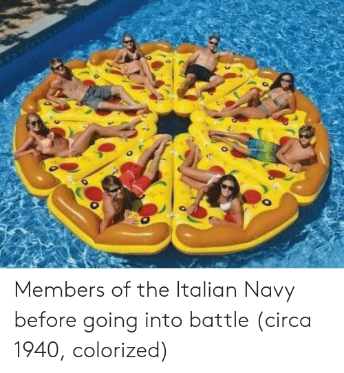 Italian Navy: Members of the Italian Navy before going into battle (circa 1940, colorized)