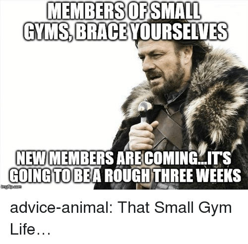 Brace Yourselves: MEMBERSOFSMALL  GYMS BRACE YOURSELVES  NEW MEMBERS ARE COMING  COINGTOBEA ROUGHTHREE WEEKS  ITS advice-animal:  That Small Gym Life…