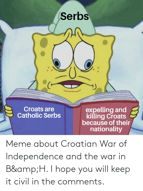 Croatian: Meme about Croatian War of Independence and the war in B&H. I hope you will keep it civil in the comments.