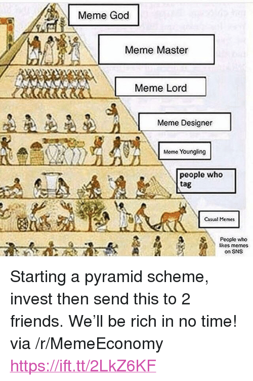 "God Meme: Meme God  Meme Master  Meme Lord  Meme Designer  Meme Youngling  people who  tag  Casual Memes  Pooplo who  tkes memes  on SNS <p>Starting a pyramid scheme, invest then send this to 2 friends. We'll be rich in no time! via /r/MemeEconomy <a href=""https://ift.tt/2LkZ6KF"">https://ift.tt/2LkZ6KF</a></p>"