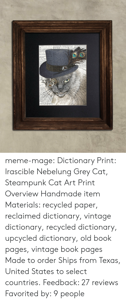 meme: meme-mage:    Dictionary Print: Irascible Nebelung Grey Cat, Steampunk Cat Art Print     Overview Handmade item Materials: recycled paper, reclaimed dictionary, vintage dictionary, recycled dictionary, upcycled dictionary, old book pages, vintage book pages Made to order Ships from Texas, United States to select countries. Feedback: 27 reviews  Favorited by: 9 people