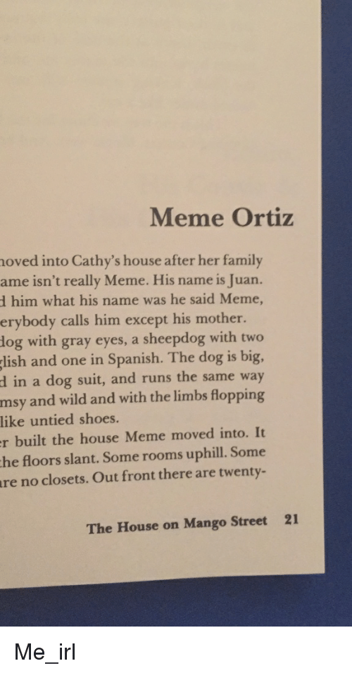 really meme: Meme Ortiz  moved into Cathy's house after her family  ame isn't really Meme. His name is Juan.  d him what his name was he said Meme,  erybody calls him except his mother  dog with gray eyes, a sheepdog with two  lish and one in Spanish. The dog is big,  d in a dog suit, and runs the same way  msy and wild and with the limbs flopping  like untied shoes.  built the house Meme moved into. It  the floors slant. Some rooms uphill. Some  no closets. Out front there are twenty-  The House on Mango Street 21 Me_irl
