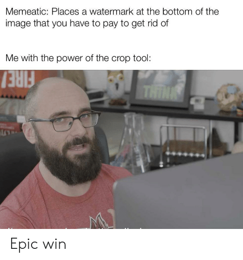 watermark: Memeatic: Places a watermark at the bottom of the  image that you have to pay to get rid of  Me with the power of the crop tool:  THIN  FIRE  ALO Epic win