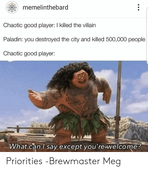Good, DnD, and Paladin: memelinthebard  Chaotic good player: I killed the villain  Paladin: you destroyed the city and killed 500,000 people  Chaotic good player:  What can I say except vou're-welcome? Priorities  -Brewmaster Meg