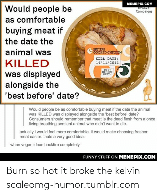 Vegan: MEMEPIX.COM  Would people be  EVOLVE!  Campaigns  as comfortable  buying meat if  the date the  BRITISH  COOKED CHICKEN  animal was  KILL DATE:  KILLED  14/11/2011  BEST  BEFORE  DEATH  was displayed  alongside the  'best before' date?  Would people be as comfortable buying meat if the date the animal  was KILLED was displayed alongside the 'best before' date?  Consumers should remember that meat is the dead flesh from a once  living breathing sentient animal who didn't want to die.  actually i would feel more comfortable. it would make choosing fresher  meat easier. thats a very good idea.  when vegan ideas backfire completely  FUNNY STUFF ON MEMEPIX.COM Burn so hot it broke the kelvin scaleomg-humor.tumblr.com