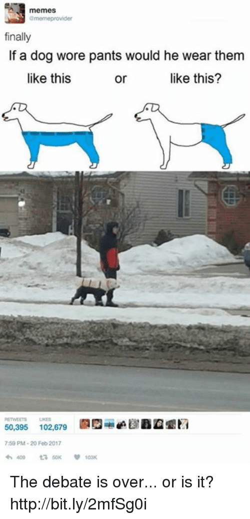 debatable: memes  finally  If a dog wore pants would he wear them  like this?  like this  or  50,395 102,679  7:59 PM-20 Feb 2017 The debate is over... or is it? http://bit.ly/2mfSg0i