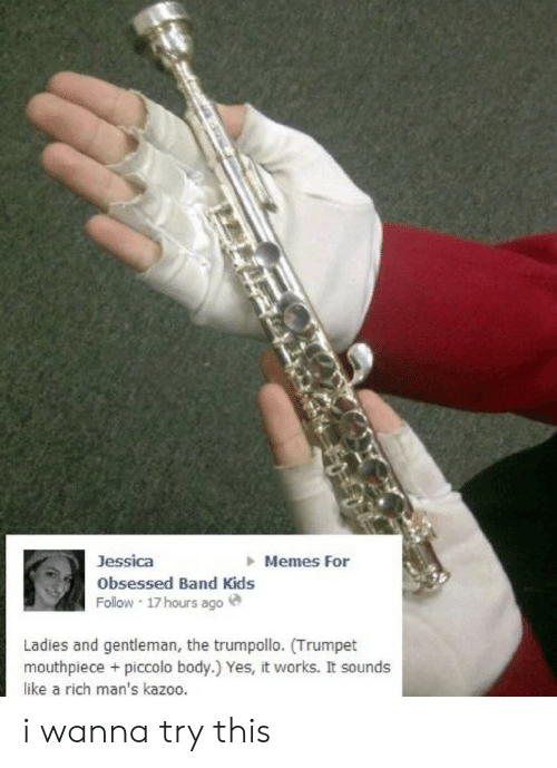 kazoo: Memes For  Jessica  Obsessed Band Kids  Follow 17hours ago  Ladies and gentleman, the trumpollo. (Trumpet  mouthpiece + piccolo body.) Yes, it works. It sounds  like a rich man's kazoo. i wanna try this