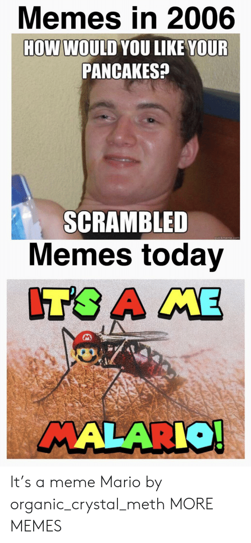 organic: Memes in 2006  HOW WOULD YOU LIKE YOUR  PANCAKES?  SCRAMBLED  Memes today  quickmeme.com  IT'S A ME  MALARIO! It's a meme Mario by organic_crystal_meth MORE MEMES
