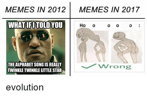 Memes, Alphabet, and Evolution: MEMES IN 2012  MEMES IN 2017  WHATIFI TOLD YOU  Ho  o O  0  THE ALPHABET SONGIS REALLY  TWINKLE TWINKLE LITTLE STAR evolution