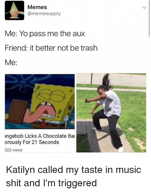 Meme, Memes, and Music: Memes  @meme supply  Me: Yo pass me the aux  Friend: it better not be trash  Me  ongebob Licks A Chocolate Bal  orously For 21 Seconds  322 views Katilyn called my taste in music shit and I'm triggered