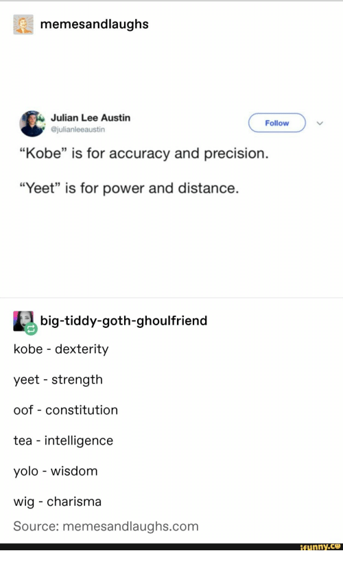 "YOLO: memesandlaughs  Julian Lee Austin  @julianleeaustin  Follow  ""Kobe"" is for accuracy and precision.  35  ""Yeet"" is for power and distance  big-tiddy-goth-ghoulfriend  kobe - dexterity  yeet - strength  oof - constitution  tea - intelligence  yolo - wisdom  wig - charisma  Source: memesandlaughs.com  funny.ce"