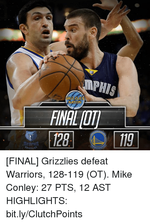 mike conley: MEMPHIS  RIZZLIES  NATION [FINAL] Grizzlies defeat Warriors, 128-119 (OT).  Mike Conley: 27 PTS, 12 AST  HIGHLIGHTS: bit.ly/ClutchPoints