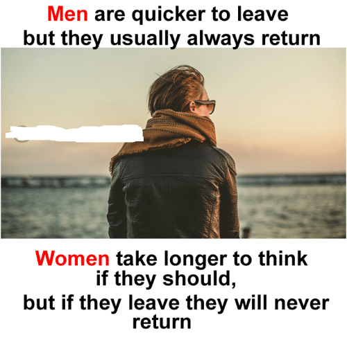 Memes, Women, and Never: Men are quicker to leave  but they usually always return  Women take longer to think  if they should,  but if they leave they will never  return