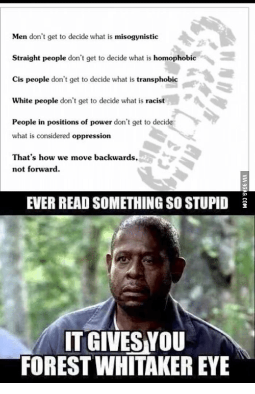 Forest Whitaker Eyes: Men don't get to decide what is  misogynistic  Straight people don't get to decide what is  homophobic  Cis people don't get to decide what is  transphobic  White people  don't get to decide what is racist  People in positions of power don't get to decide  what is considered oppression  That's how we move backwards,  not forward  EVER READ SOMETHING SO STUPID  IT GIVES YOU  FOREST WHITAKER EYE