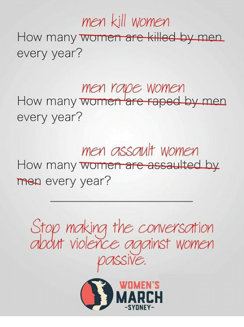 Womens March: men kill women  How many womerr are killed by men.  every year?  men rape women  How many womeare raped by men  every year?  men assault women  How many womerr-are assaulted by.  men every year?  Stop making the conversation  abdut violerce against wonen  passl  WOMEN'S  MARCH  -SYDNEY-
