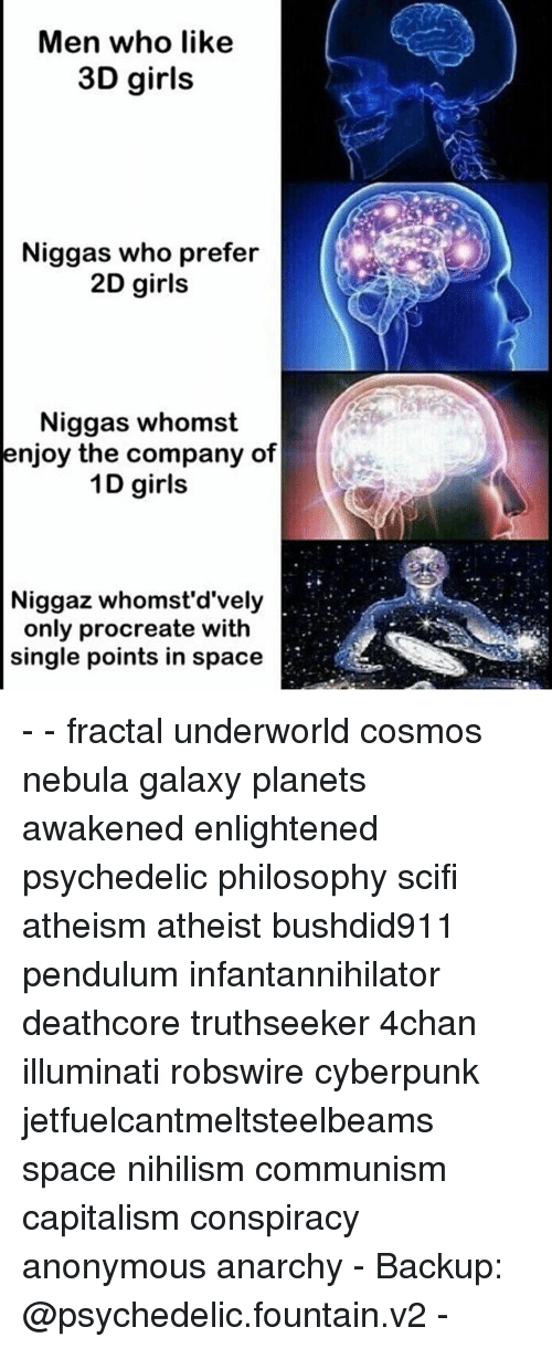 nebulas: Men who like  3D girls  Niggas who prefer  2D girls  Niggas whomst  enjoy the company of  1D girls  Niggaz whomst'd'vely  only procreate with  single points in space - - fractal underworld cosmos nebula galaxy planets awakened enlightened psychedelic philosophy scifi atheism atheist bushdid911 pendulum infantannihilator deathcore truthseeker 4chan illuminati robswire cyberpunk jetfuelcantmeltsteelbeams space nihilism communism capitalism conspiracy anonymous anarchy - Backup: @psychedelic.fountain.v2 -