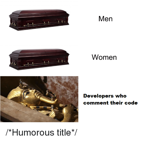 humorous: Men  Women  Developers who  comment their code /*Humorous title*/