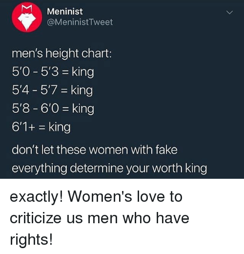 Fake, Love, and Women: Meninist  @MeninistTweet  men's height chart:  50-53 = king  5'4 5'7-king  5'8-6'0 king  6'1+king  don't let these women with fake  everything determine your worth king exactly! Women's love to criticize us men who have rights!