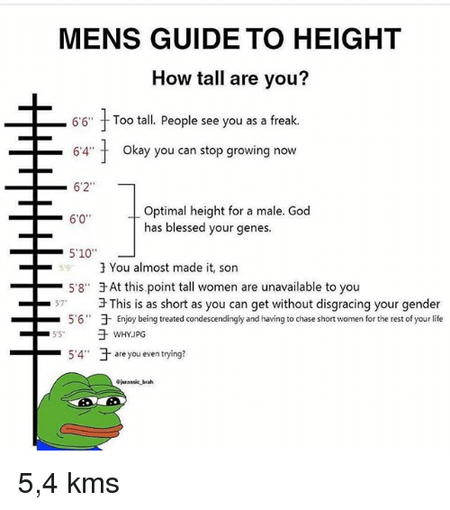 "Blessed, God, and Life: MENS GUIDE TO HEIGHT  How tall are you?  6'6""  Too tall. People see you as a freak.  -64"" t  okay you can stop growing now  6'2""  Optimal height for a male. God  has blessed your genes.  6'0  59  3 You almost made it, son  -5'8""于At this point tall women are unavailable to you  3 This is as short as you can get without disgracing your gender  于Enjoy being treated condescendingly and having to chase short women for the rest of your life  57  5.6""  -5.4""  于are you even trying?  -  jurassie brah 5,4 kms"