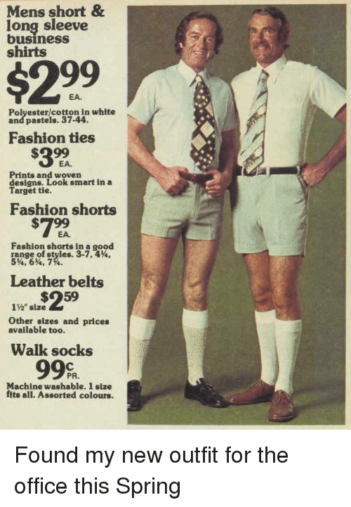 """Pastels: Mens short &  long sleeve  business  shirts  $299  EA.  Polyester/cotton in white  and pastels. 37-44.  Fashion ties  EA.  Prints and woven  designs. Look smart in a  Target tie.  Fashion shorts  #799  Fashion shorts in a good  range.of styles. 3.7.4%.  5%'6%, 7%.  Leather belts  1%"""" size  Other sizes and prices  available too.  Walk socks  99%  PR.  Machine washable. 1 size  fits all. Assorted colours. Found my new outfit for the office this Spring"""
