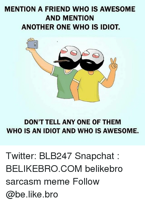 Another One, Be Like, and Meme: MENTION A FRIEND WHO IS AWESOME  AND MENTION  ANOTHER ONE WHO IS IDIOT.  DON'T TELL ANY ONE OF THEM  WHO IS AN IDIOT AND WHO IS AWESOME. Twitter: BLB247 Snapchat : BELIKEBRO.COM belikebro sarcasm meme Follow @be.like.bro