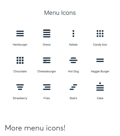 burger: Menu Icons  Hamburger  Oreos  Kebab  Candy box  Hot Dog  Cheeseburger  Veggie Burger  Chocolate  Fries  Strawberry  Stairs  Cake  •III  00 More menu icons!