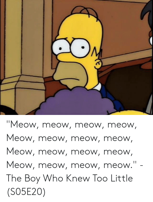 """meow meow: """"Meow, meow, meow, meow, Meow, meow, meow, meow, Meow, meow, meow, meow, Meow, meow, meow, meow.""""  - The Boy Who Knew Too Little (S05E20)"""
