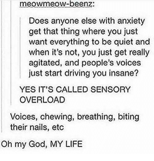 Driving, God, and Life: meowmeow-beenz:  Does anyone else with anxiety  get that thing where you just  want everything to be quiet and  when it's not, you just get really  agitated, and people's voices  just start driving you insane?  YES IT'S CALLED SENSORY  OVERLOAD  Voices, chewing, breathing, biting  their nails, etc  Oh my God, MY LIFE