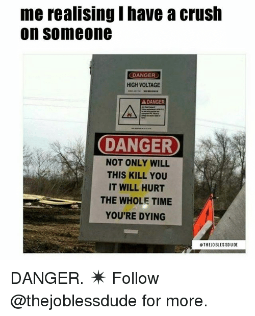 Crush, Memes, and Time: merealising Ihave a crush  on Someone  DANGER  HIGH VOLTAGE  ADANGER  DANGER  NOT ONLY WILL  THIS KILL YOU  IT WILL HURT  THE WHOLE TIME  YOU'RE DYING  THE JOBLESSDUDE DANGER. ✴️ Follow @thejoblessdude for more.