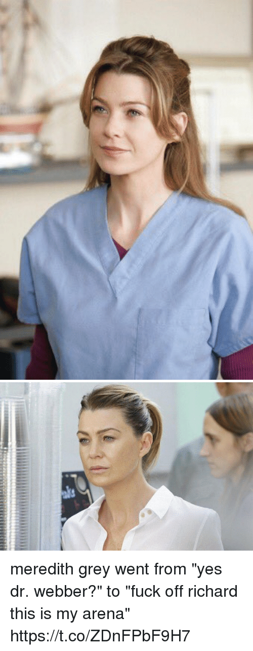 "Memes, Fuck, and Grey: meredith grey went from ""yes dr. webber?"" to ""fuck off richard this is my arena"" https://t.co/ZDnFPbF9H7"