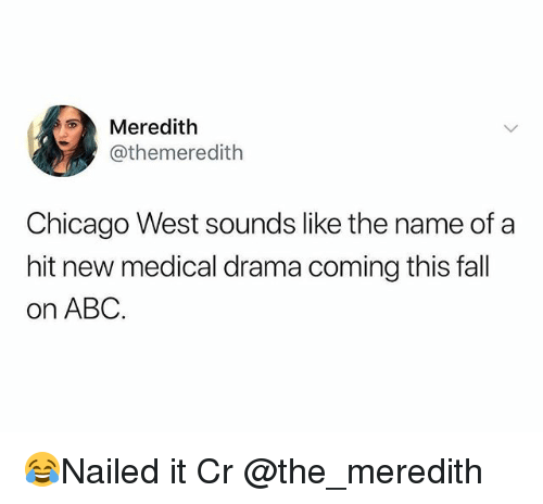 Abc, Chicago, and Fall: Meredith  @themeredith  Chicago West sounds like the name ofa  hit new medical drama coming this fall  on ABC. 😂Nailed it Cr @the_meredith