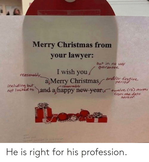 happy new year: Merry Christmas from  your lawyer:  but in no way  guarantee  I wish you/  reasonably  andlor festive  period  a Merry Christmas  reasorably  not limited to and a happy new year:+welve (12) menths  including but  from the date  hereof He is right for his profession.