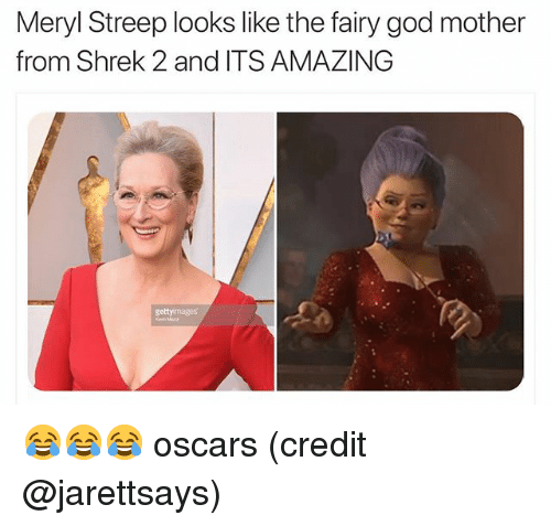 Funny, God, and Oscars: Meryl Streep looks like the fairy god mother  from Shrek 2 and ITS AMAZING  getty mages 😂😂😂 oscars (credit @jarettsays)