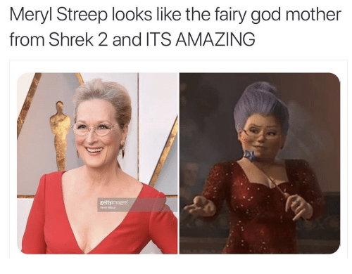 God, Shrek, and Meryl Streep: Meryl Streep looks like the fairy god mother  from Shrek 2 and ITS AMAZING  gettyimages