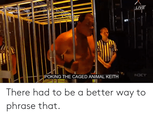 nxt: mes  LIVE  ES  POKING THE CAGED ANIMAL KEITH  NXT There had to be a better way to phrase that.