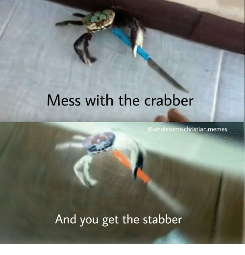 Irl, Mess, and Messing: Mess with the crabber  wholesome Christian memes  And you get the stabber