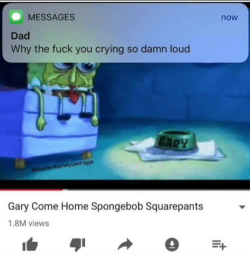Crying, Dad, and Fuck You: MESSAGES  Dad  Why the fuck you crying so damn loud  now  Gary Come Home Spongebob Squarepants  1.8M views