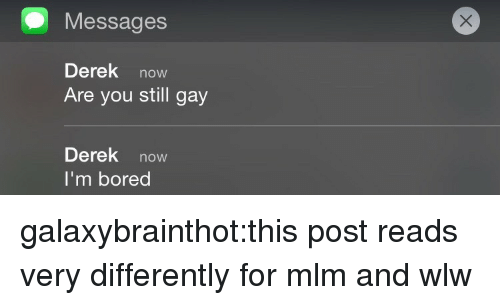 mlm: Messages  Derek now  Are you still gay  Derek now  I'm bored galaxybrainthot:this post reads very differently for mlm and wlw