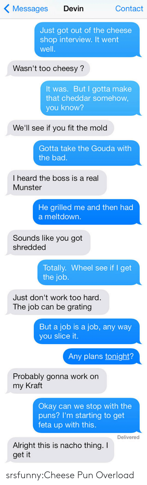meltdown: Messages Devin  Contact  Just got out of the cheese  shop interview. It went  well.  Wasn't too cheesy?  It was. But I gotta make  that cheddar somehow  you know?  We'll see if you fit the mold  Gotta take the Gouda with  the bad.  I heard the boss is a real  Munster  He arilled me and then had  a meltdown.  Sounds like you got  shredded  Totally. Wheel see if I get  the job.  Just don't work too hard.  The job can be grating  But a job is a job, any way  you slice it.  Any plans tonight?  Probably gonna work on  my Kraft  Okay can we stop with the  puns? I'm starting to get  feta up with this  Delivered  Alright this is nacho thing. I  get it srsfunny:Cheese Pun Overload